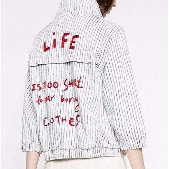 509510c3a Zara Jackets & Coats | Nwt Striped Bomber Jacket Life Is Too Short ...